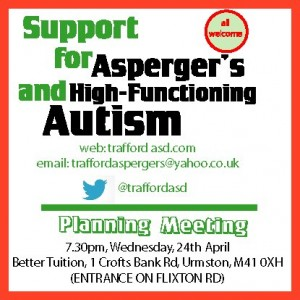 Newly formed support group for young people with Asperger's/ high-functioning autism.