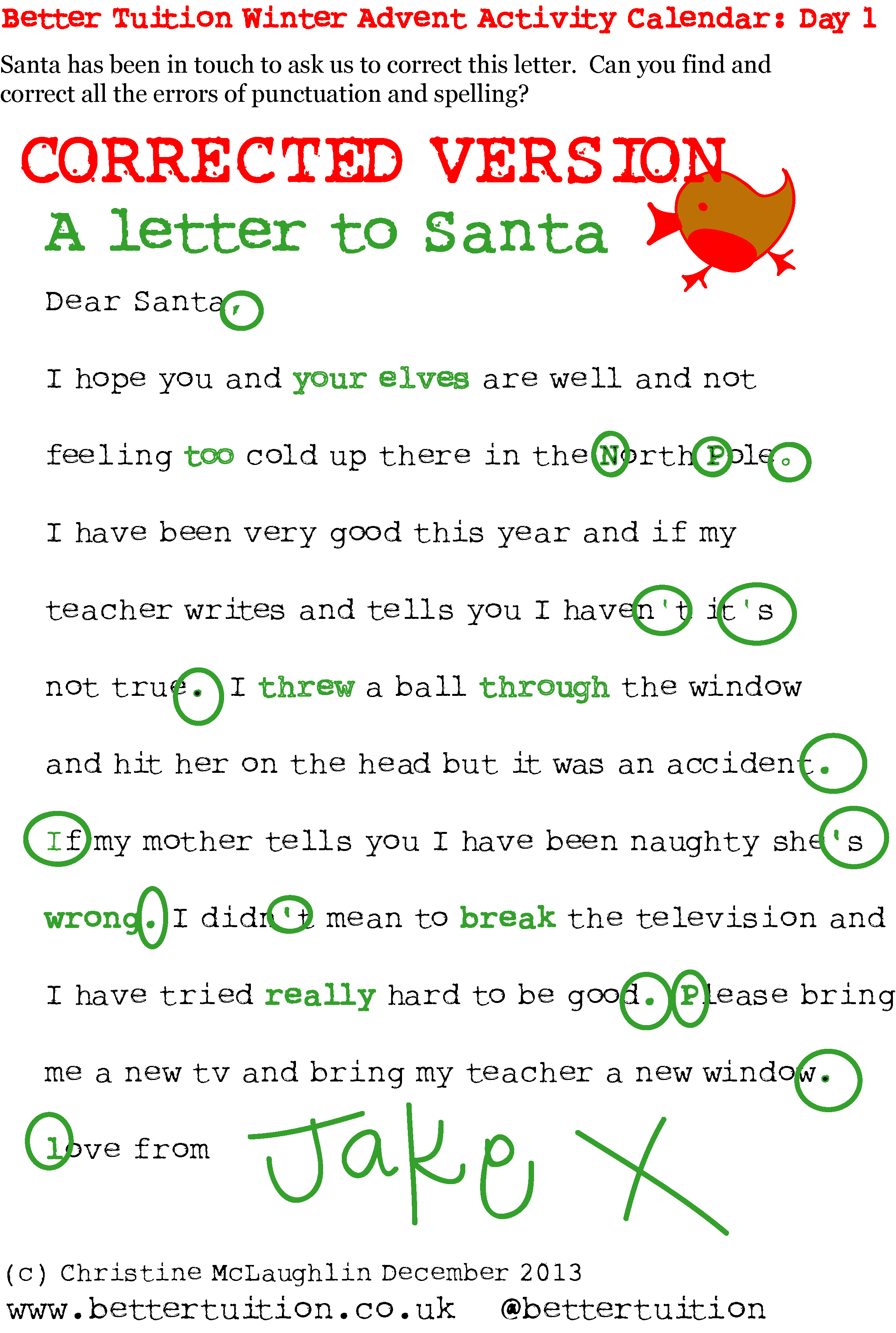 Letter to santa proof reading activity corrected version better 1 letter to santa corrected version spiritdancerdesigns Choice Image