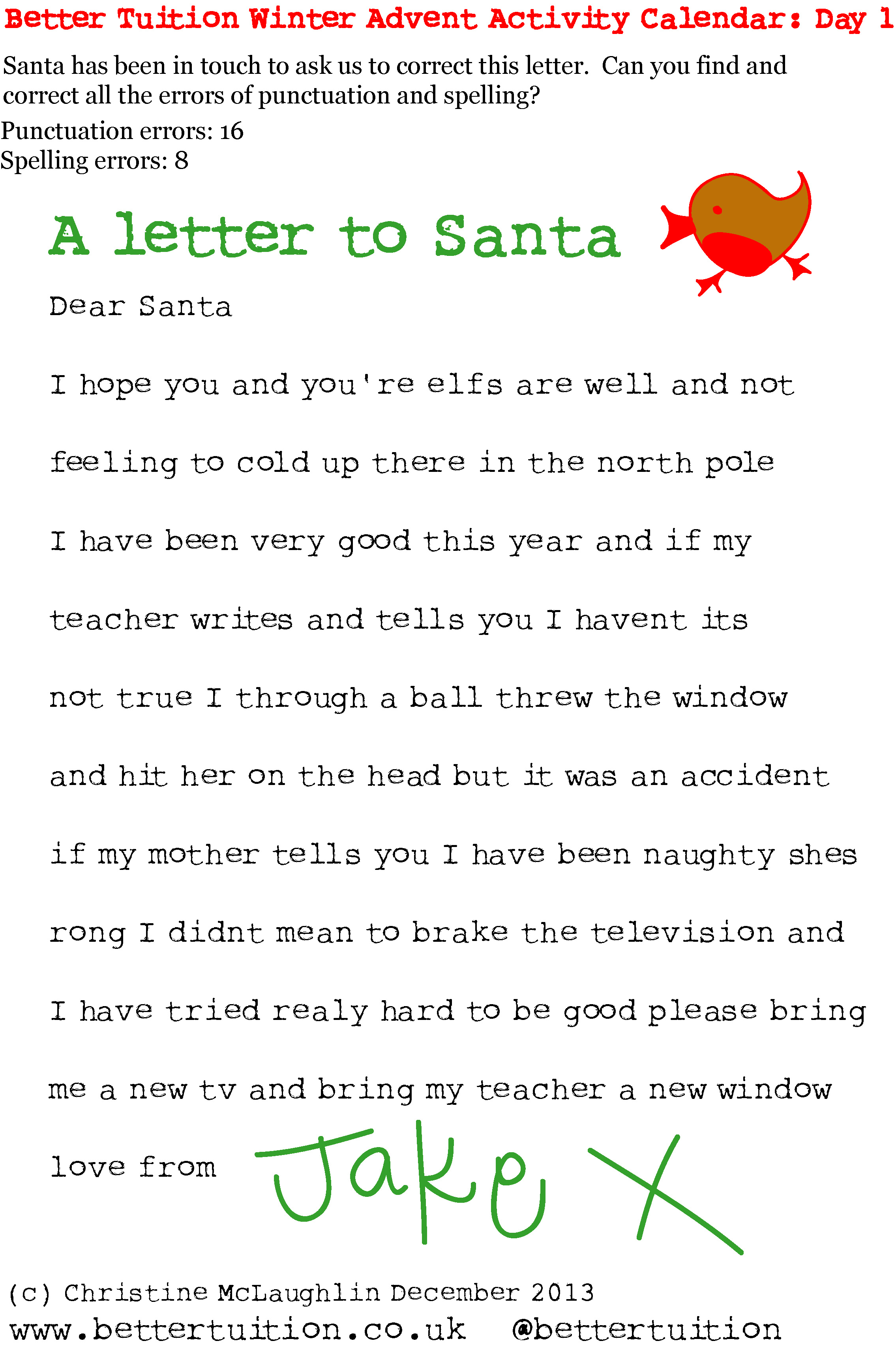 December St A Letter To Santa  Better Tuition